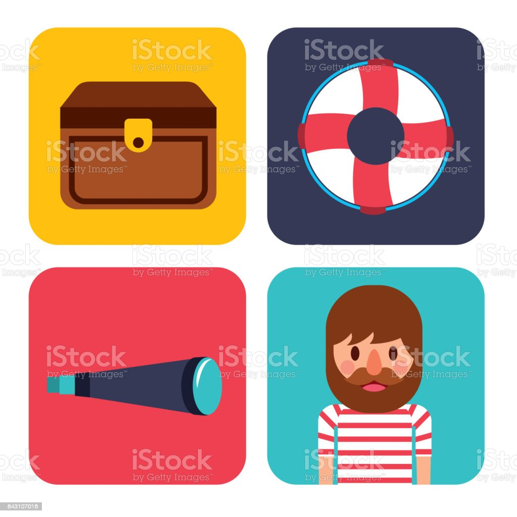 nautical design elements life buoy sailor treasure chest spyglass vector art illustration