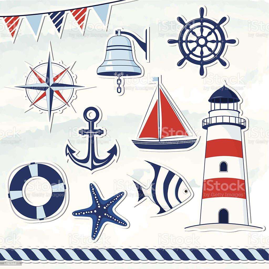 Nautical design elements royalty-free stock vector art
