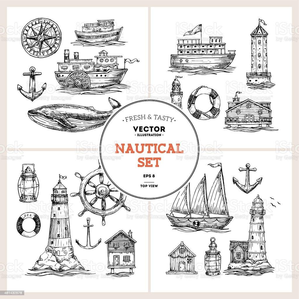 Nautical elements collection. Sea set. Vector illustration vector art illustration