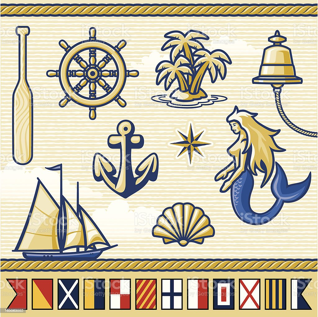 Nautical Elements & Flags Series vector art illustration