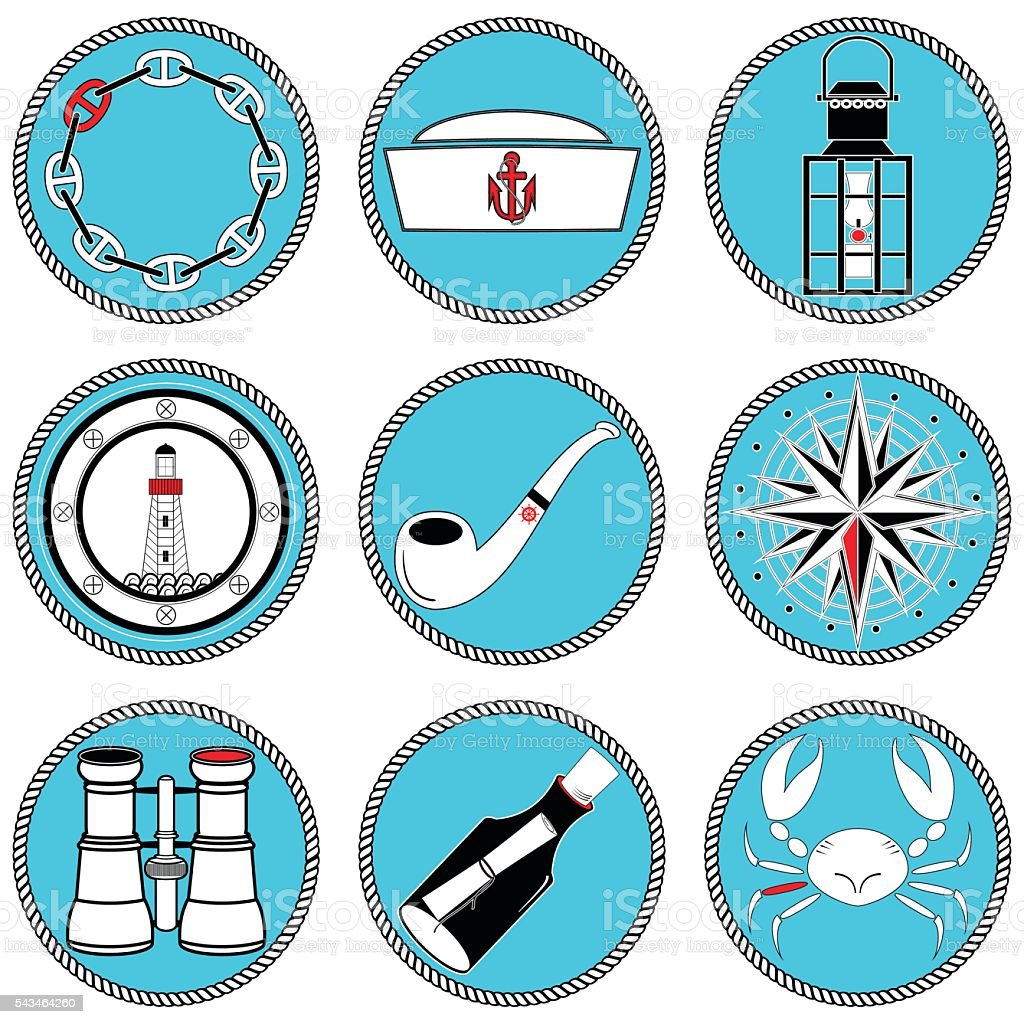 Nautical elements type 4 icons in knotted circle vector art illustration