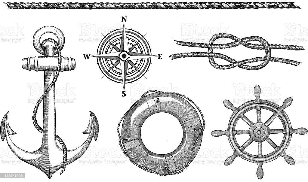 Nautical Elements royalty-free stock vector art