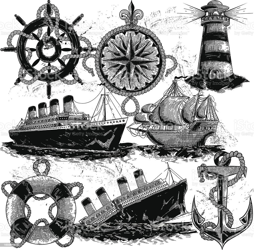 Nautical Elements royalty-free stock vector art