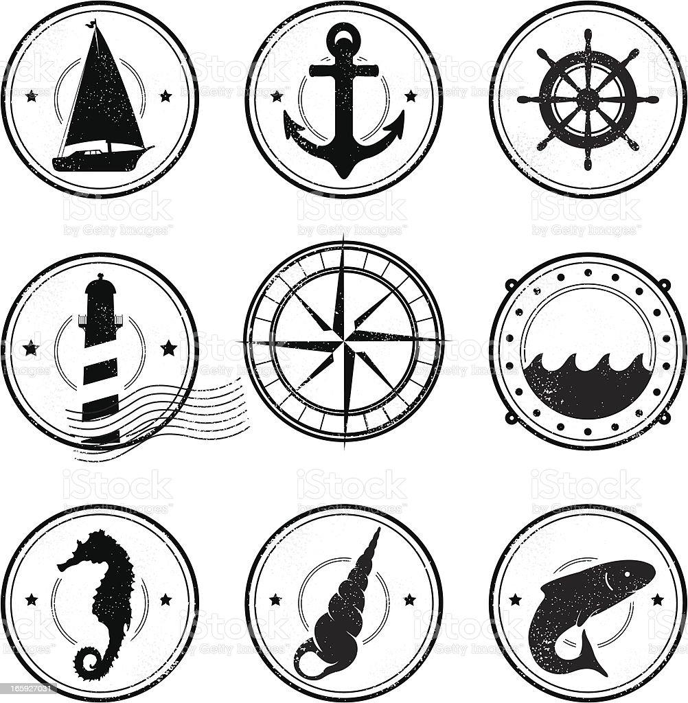 Nautical grunge symbols vector art illustration