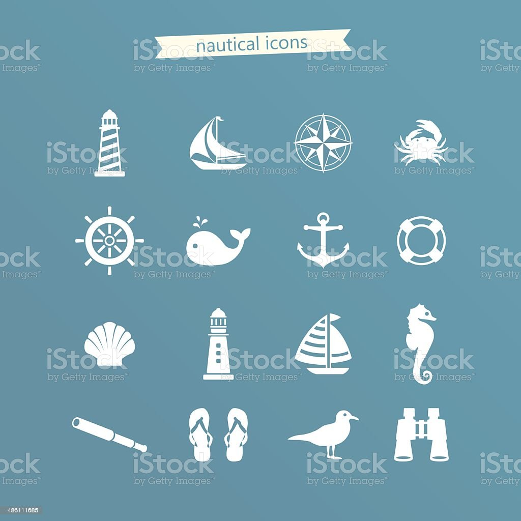Nautical icon set vector art illustration