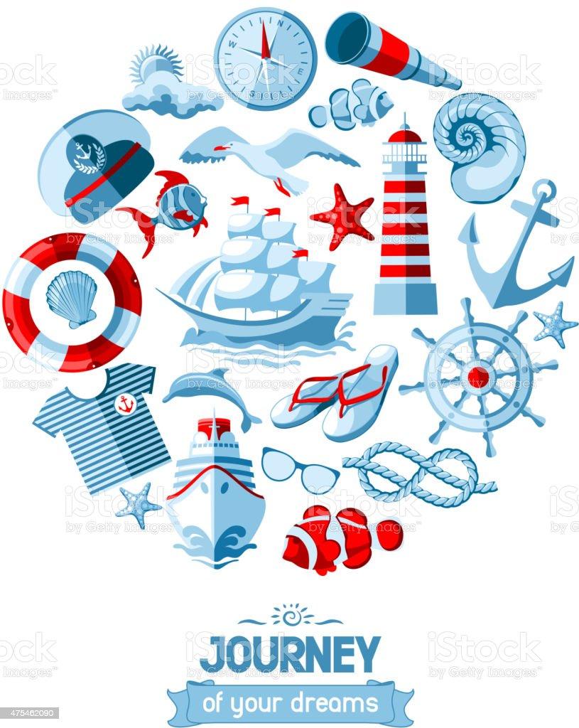 Nautical icons set vector art illustration