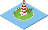 Nautical Lighthouse Isometric View. Vector
