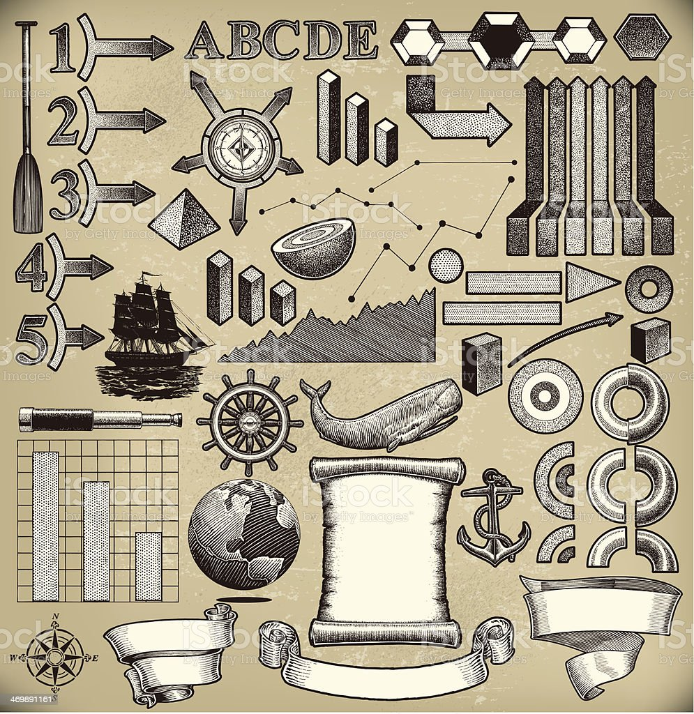 Nautical or Old World Infographic royalty-free stock vector art
