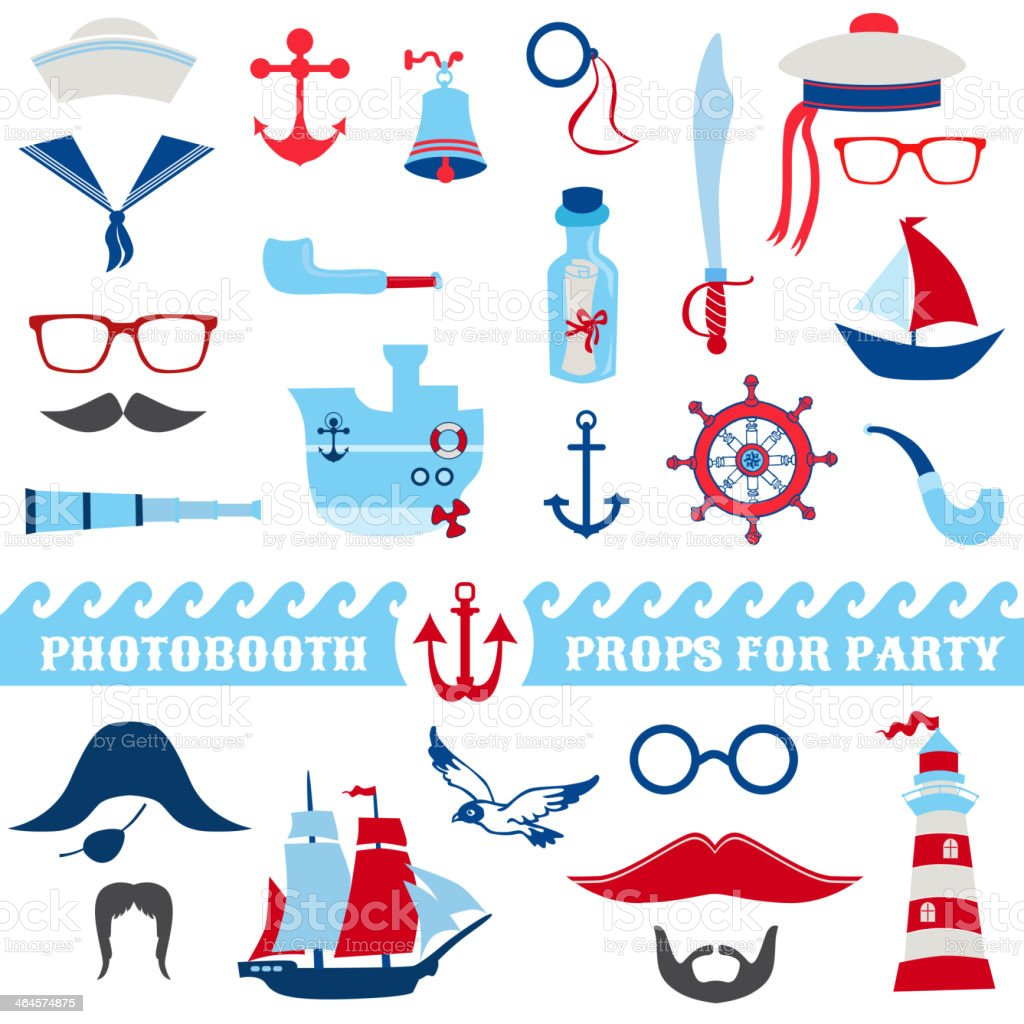 Nautical Party set - photobooth props vector art illustration