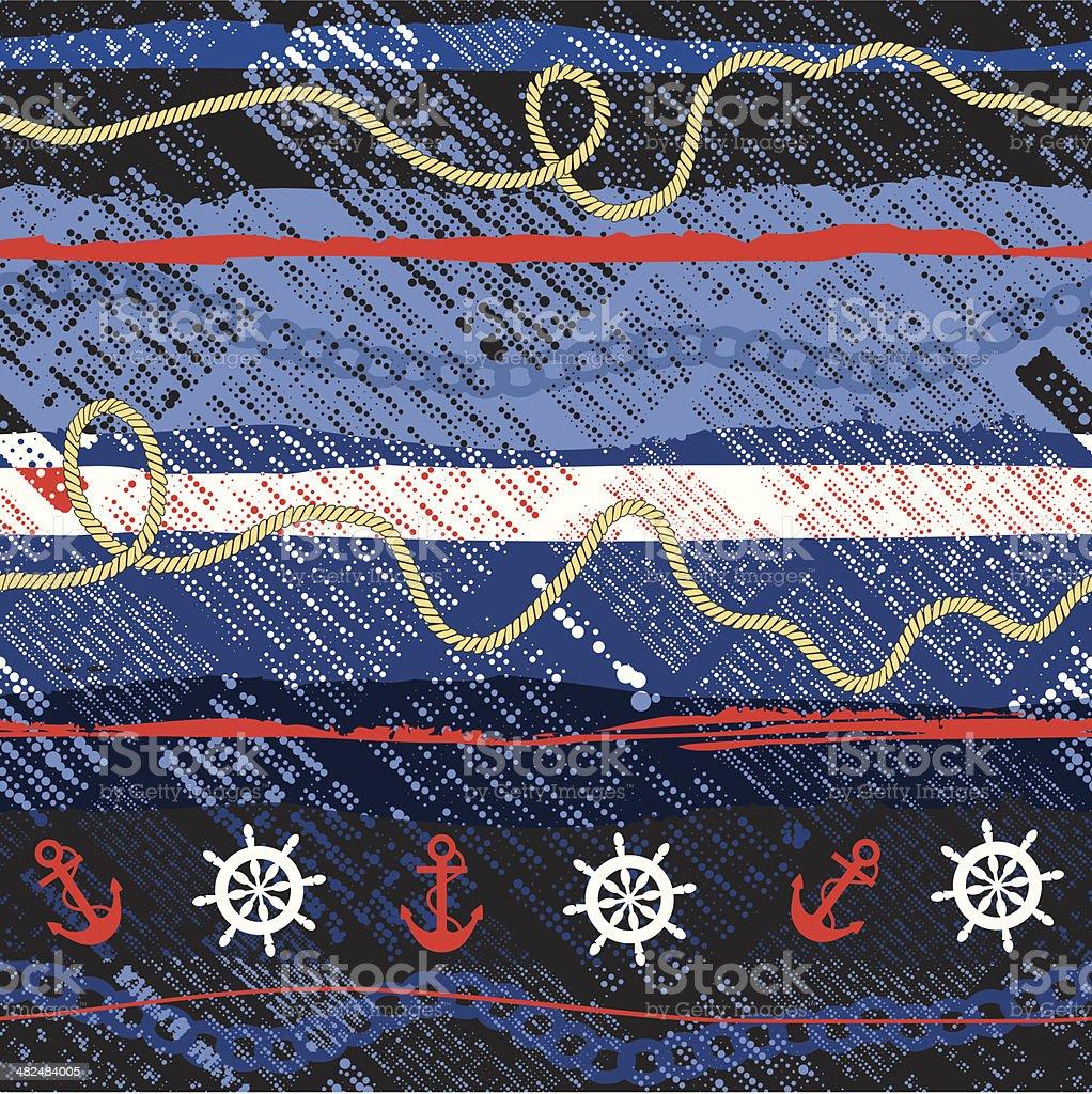 nautical pattern vector art illustration