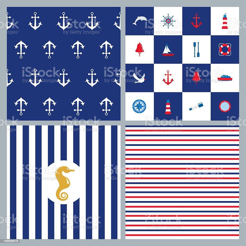 Nautical patterns vector art illustration