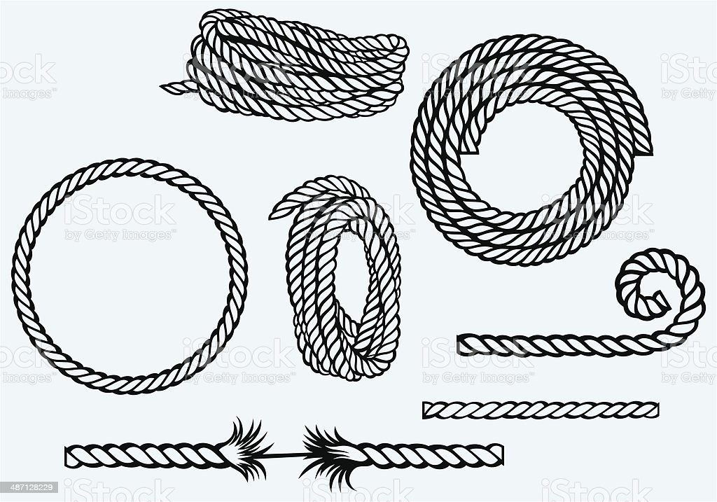 Nautical rope knots vector art illustration