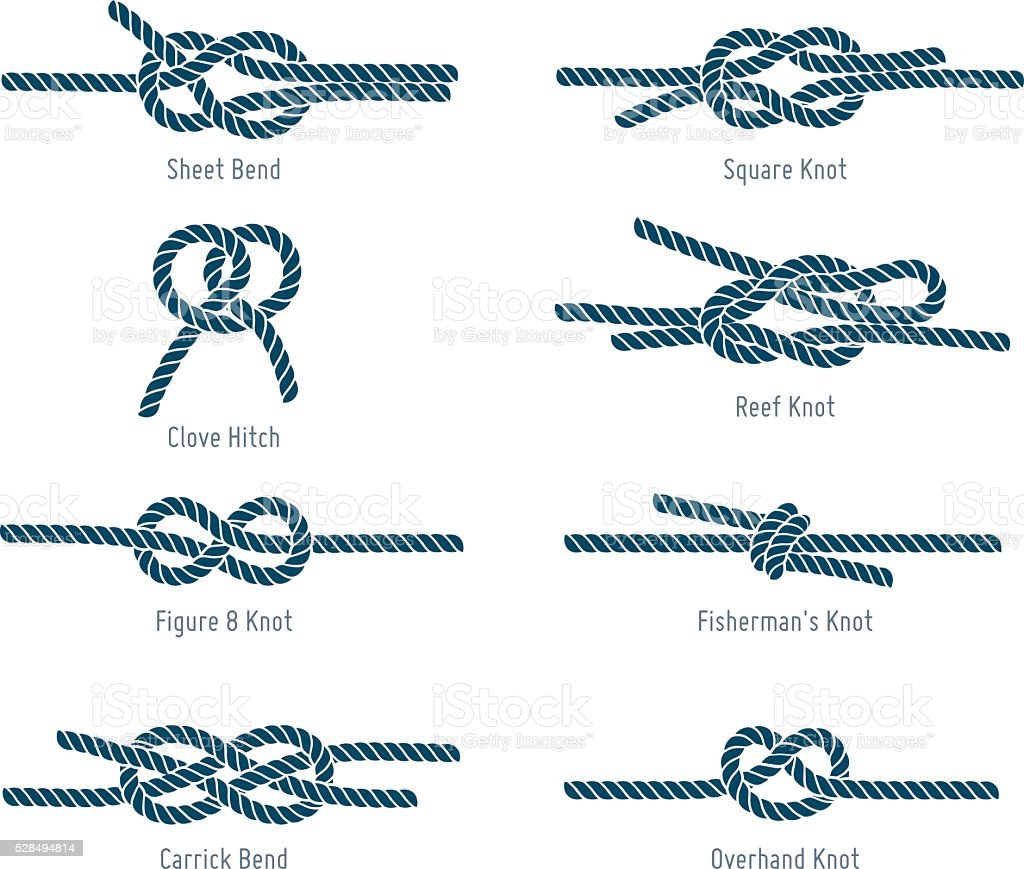 Nautical rope knots vector art illustration
