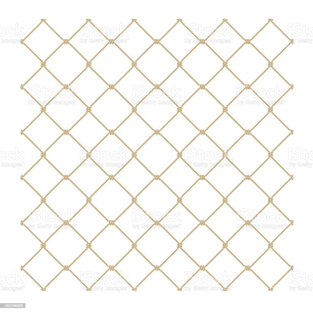 Nautical rope seamless gold fishnet pattern on white background vector art illustration
