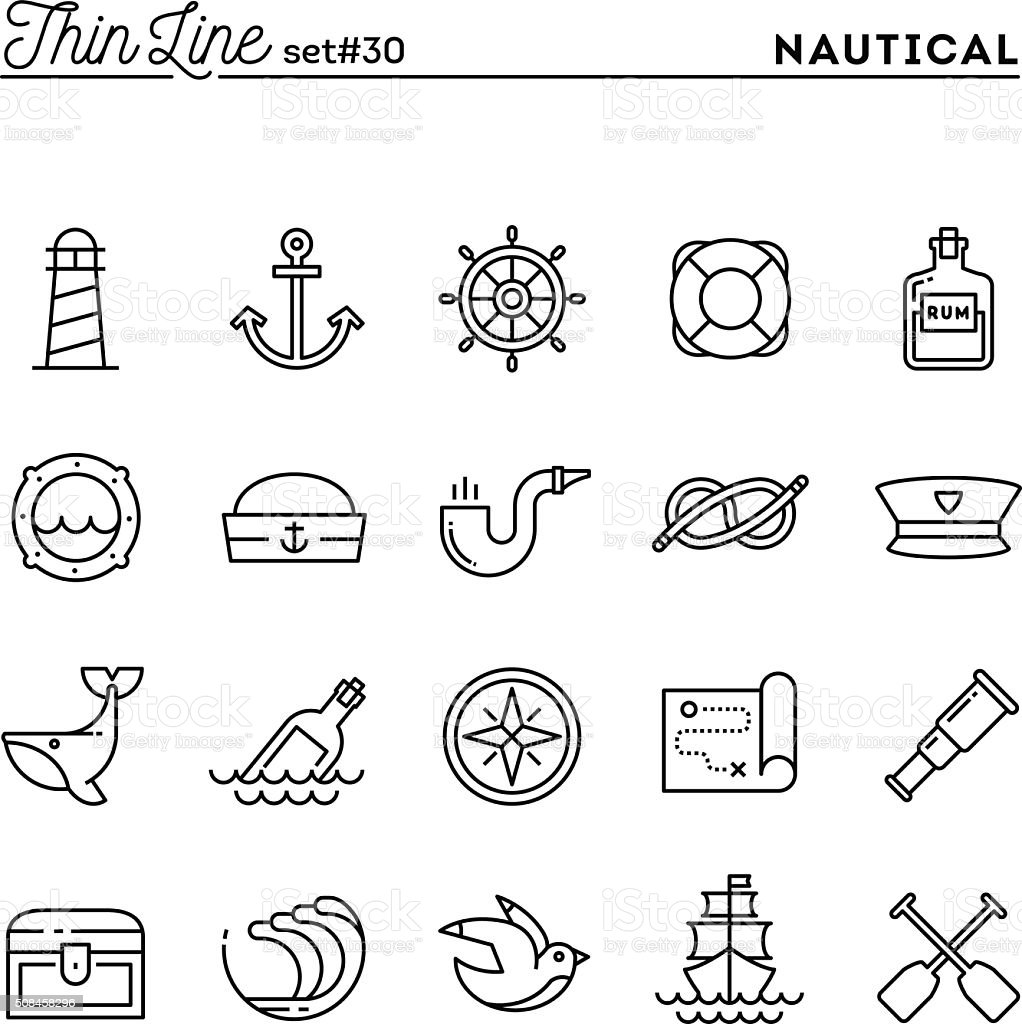 Nautical, sailing, sea animals, marine and more, thin line icons vector art illustration