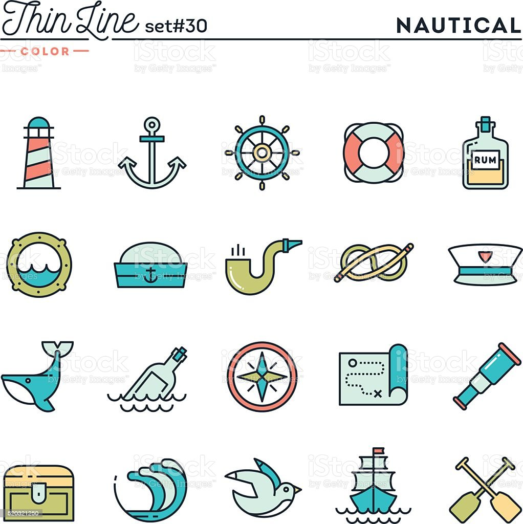 Nautical, sailing, sea animals, marine and more vector art illustration
