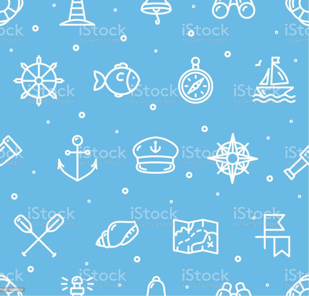 Nautical Sea Background Pattern. Vector vector art illustration