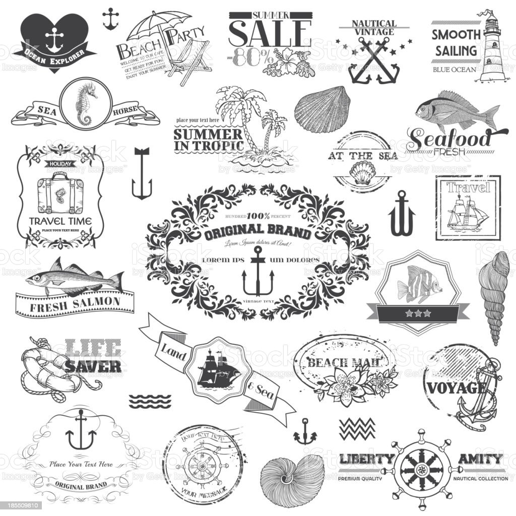 Nautical Sea Calligraphic Elements royalty-free stock vector art