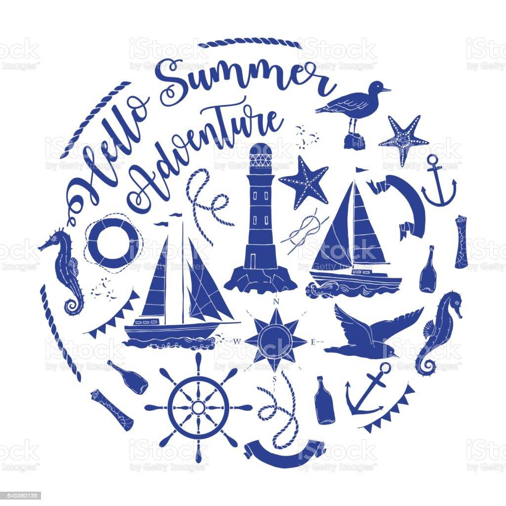 Nautical  sea composition vector art illustration