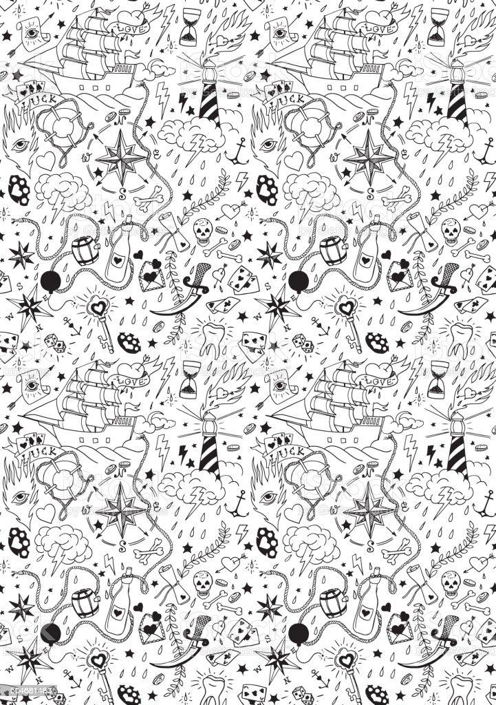 Nautical seamless pattern in tattoo style vector art illustration
