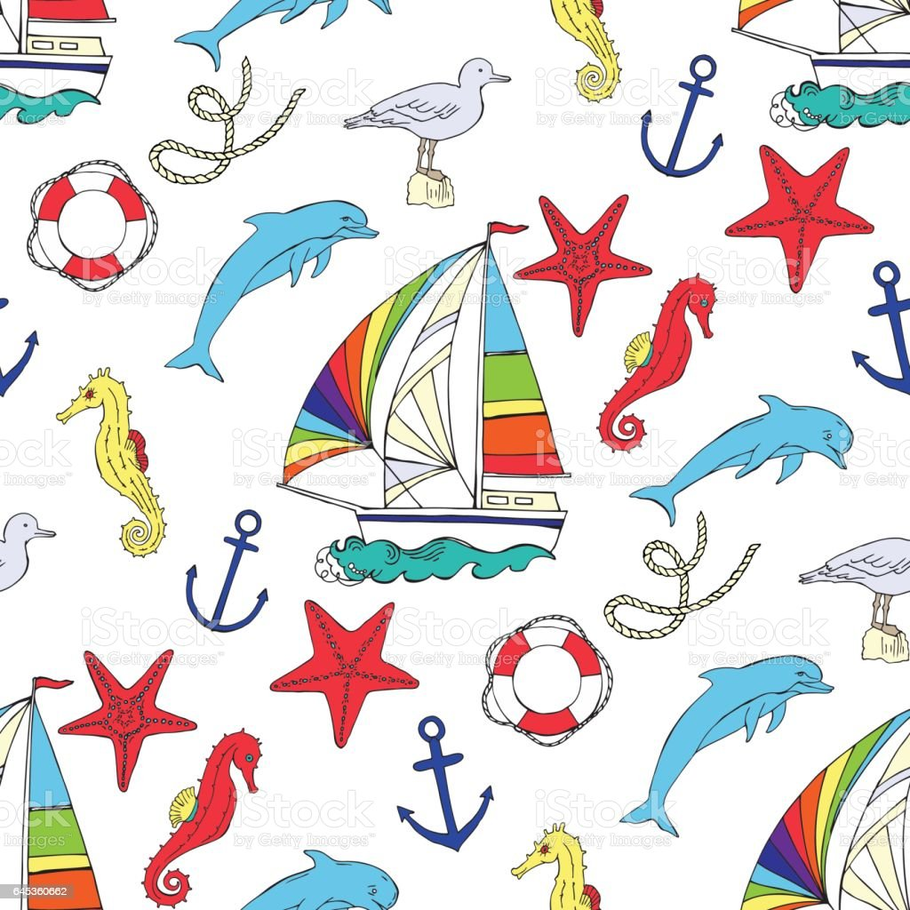 Nautical seamless pattern with ships vector art illustration