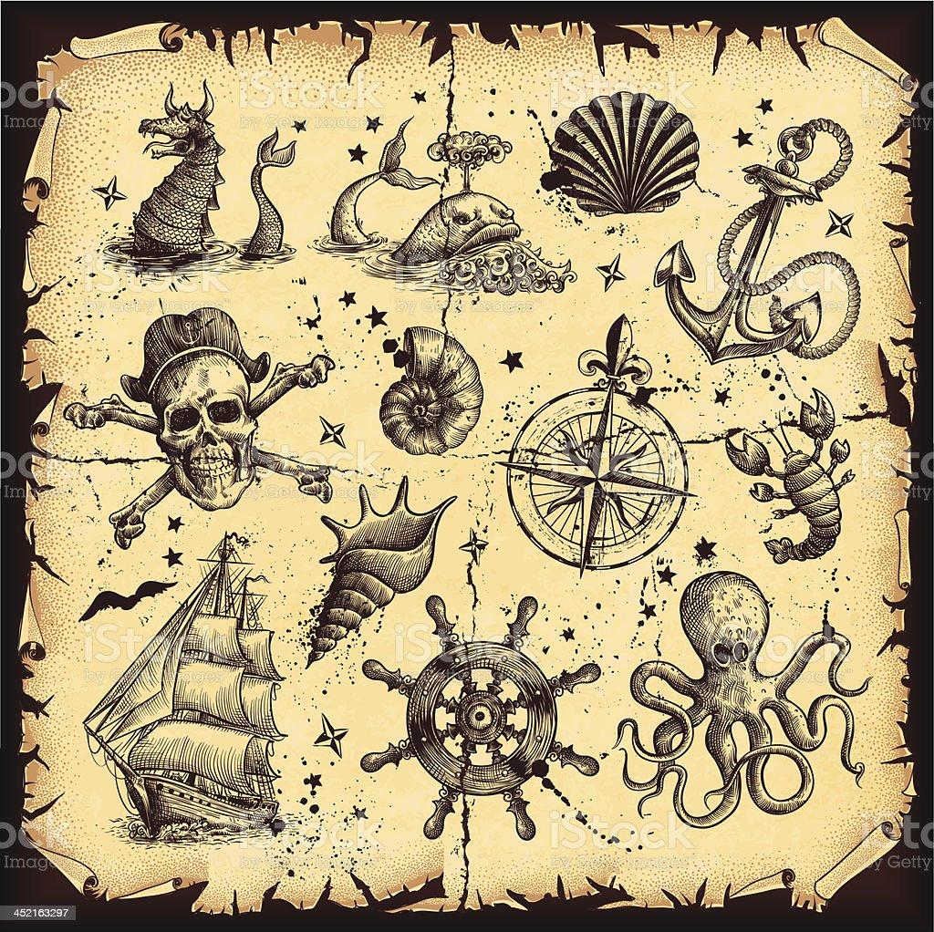 Nautical set vector art illustration