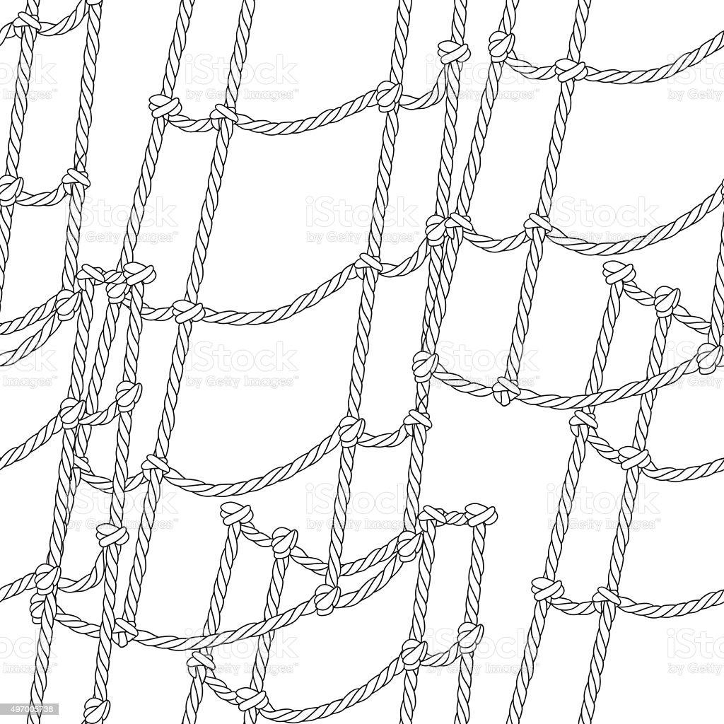 Nautical ship ropes seamless pattern. vector art illustration