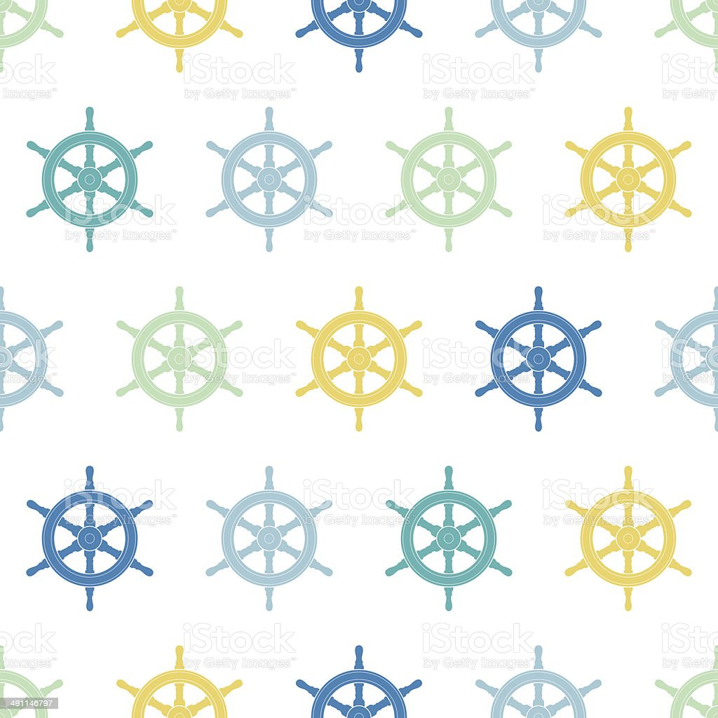 Nautical ship wheels colorful seamless pattern background royalty-free stock vector art