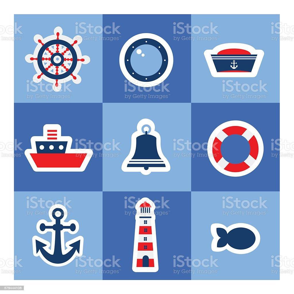Nautical stickers vector art illustration