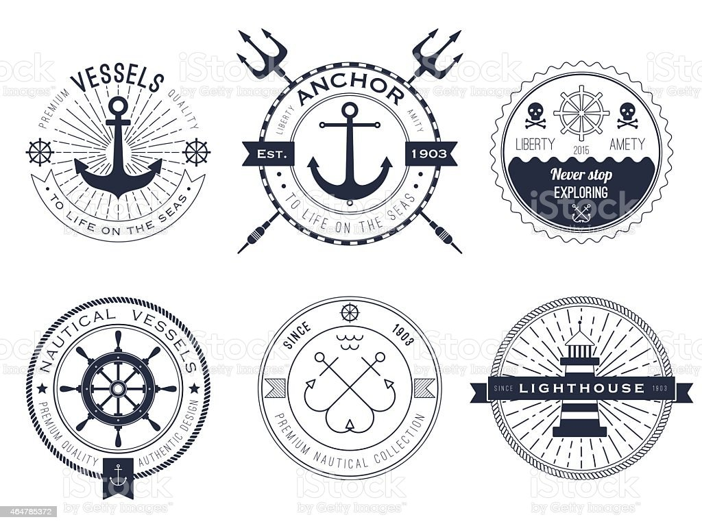 Nautical symbols showing anchors and lighthouses vector art illustration