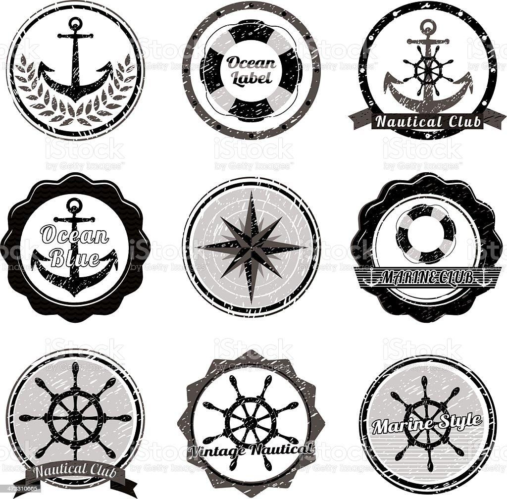 Nautical Symbols (Black & White) royalty-free stock vector art