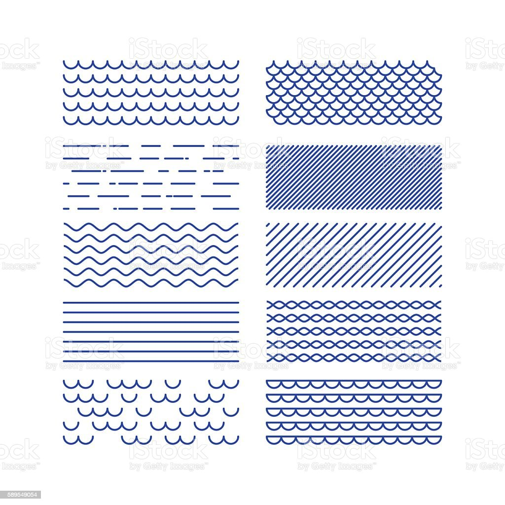 Nautical textures collection. Linear graphic. Sea theme design kit. . vector art illustration