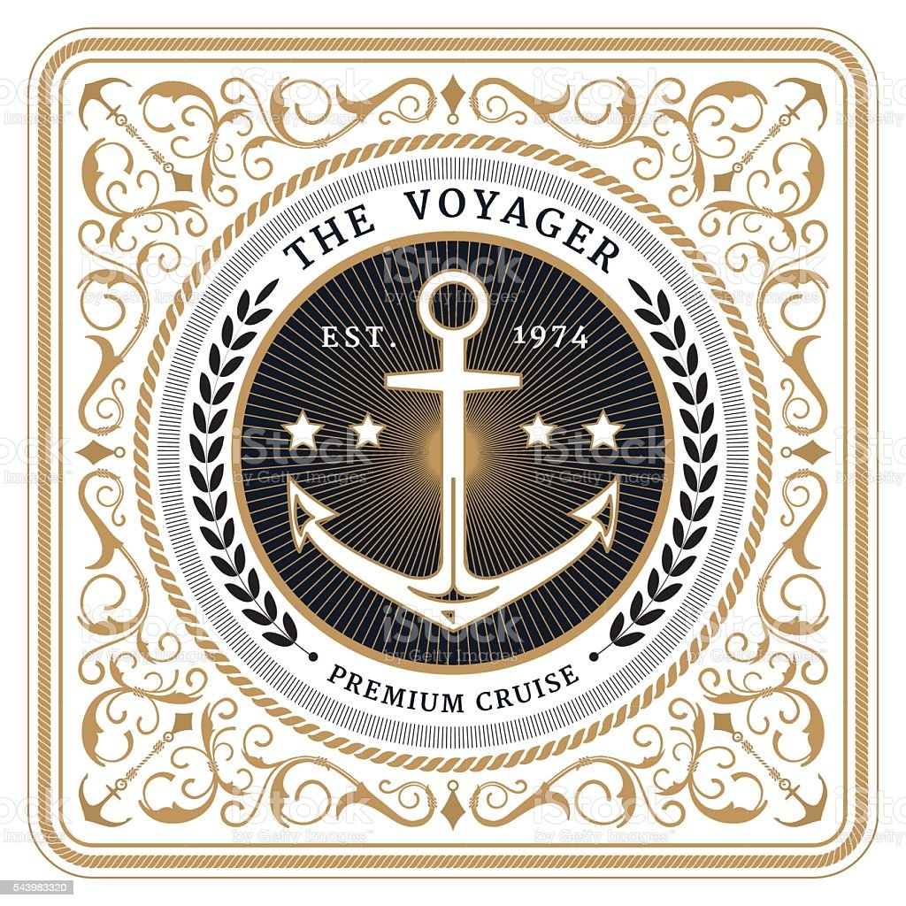 Nautical the voyager retro white card vector art illustration