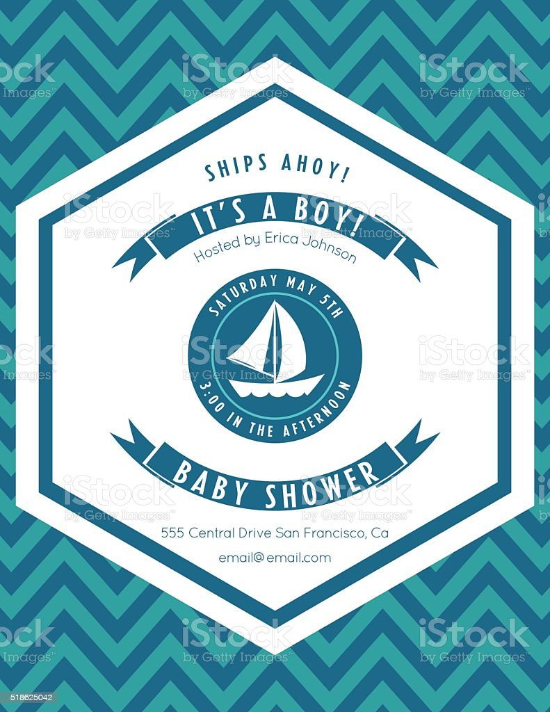 Nautical Theme Baby Shower Party Invitation vector art illustration
