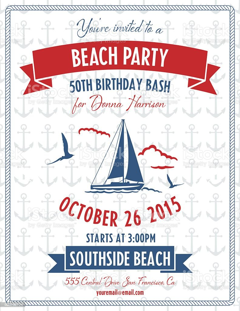 Nautical Theme Beach Party Invitation vector art illustration