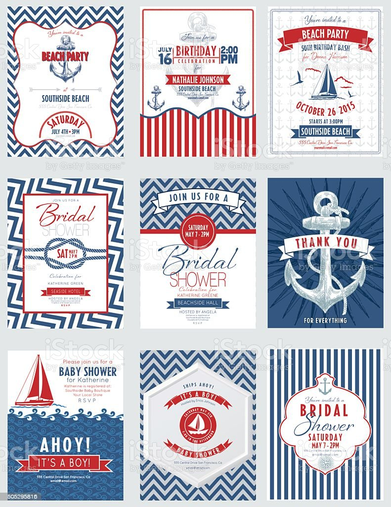 Nautical Theme Party Invitations Set vector art illustration