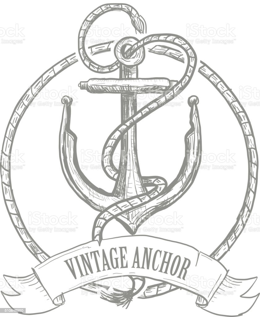 Nautical themed anchor design with rope and banner vector art illustration