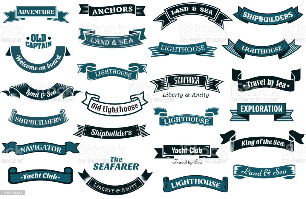 Nautical themed banners vector art illustration
