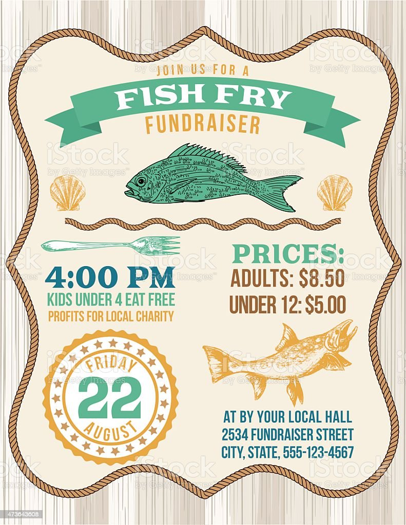 Nautical Themed Fish Fry Poster Template vector art illustration