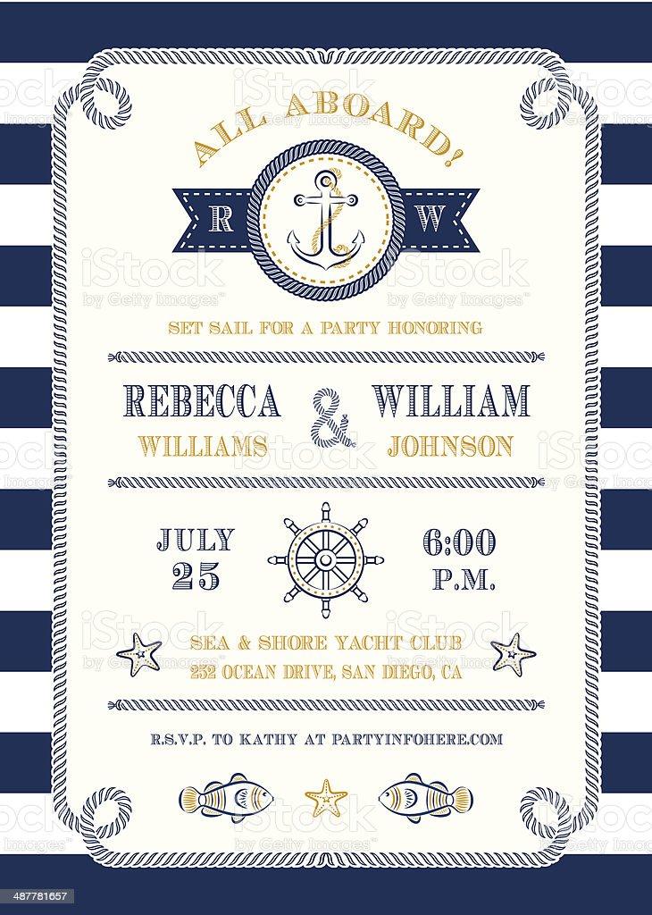 Nautical Themed Invitation vector art illustration