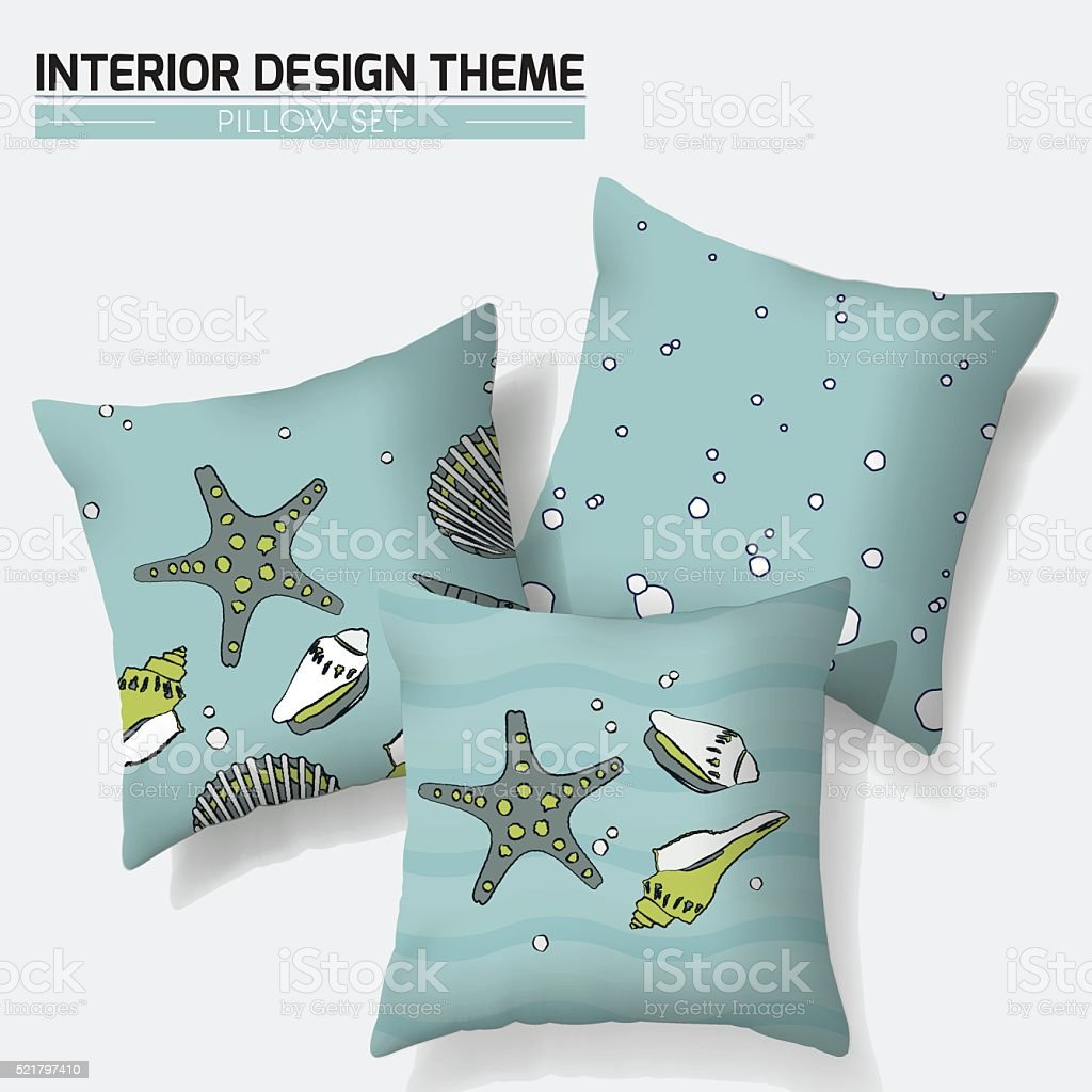 Nautical throw pillow design vector art illustration