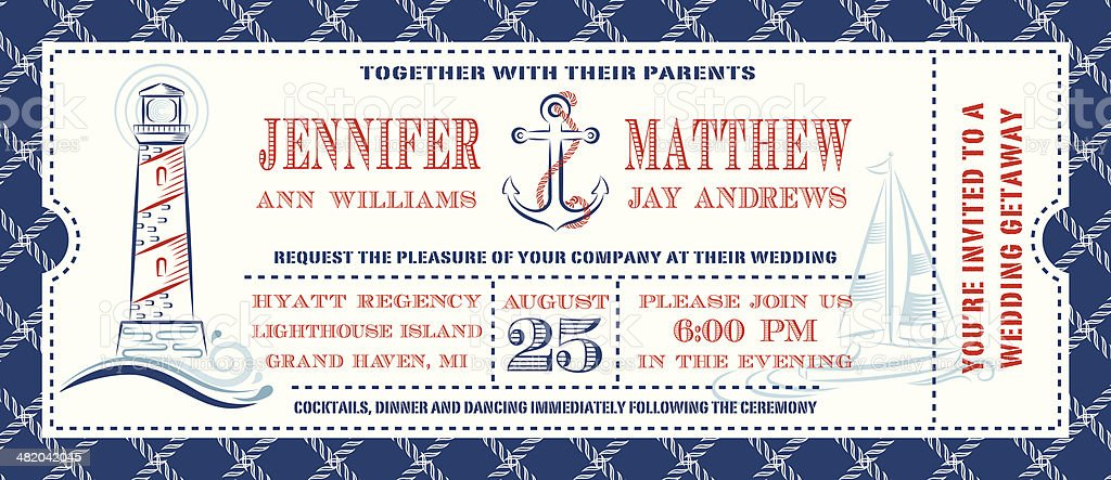 Nautical Ticket Invitation vector art illustration