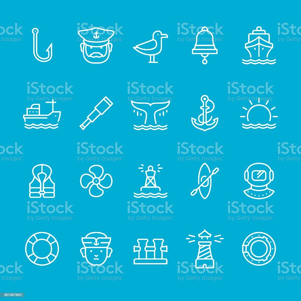 Nautical vector icons vector art illustration
