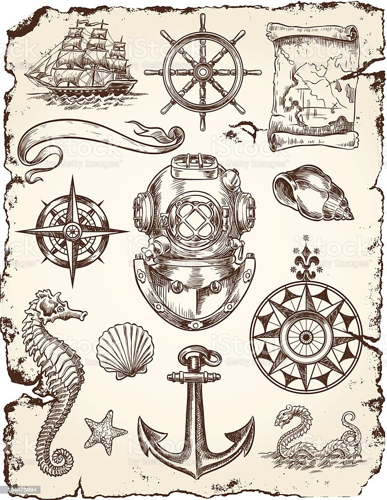 Nautical Vector Illustration Set royalty-free stock vector art
