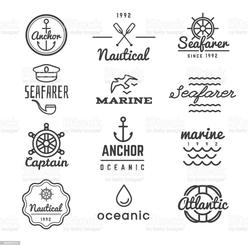 Nautical vector logos in hipster style vector art illustration