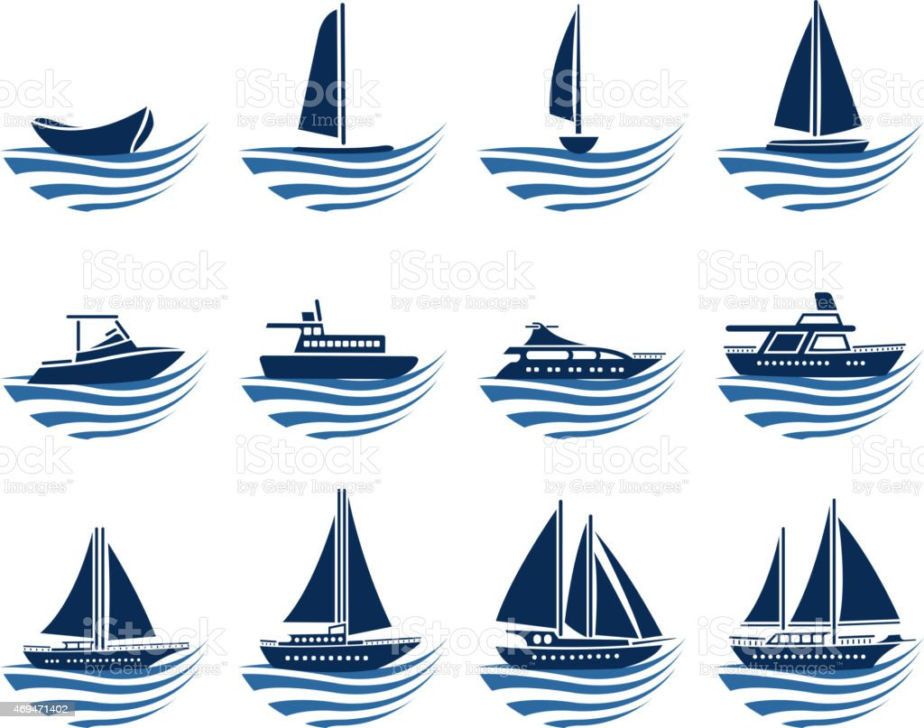 nautical vessel icons vector art illustration
