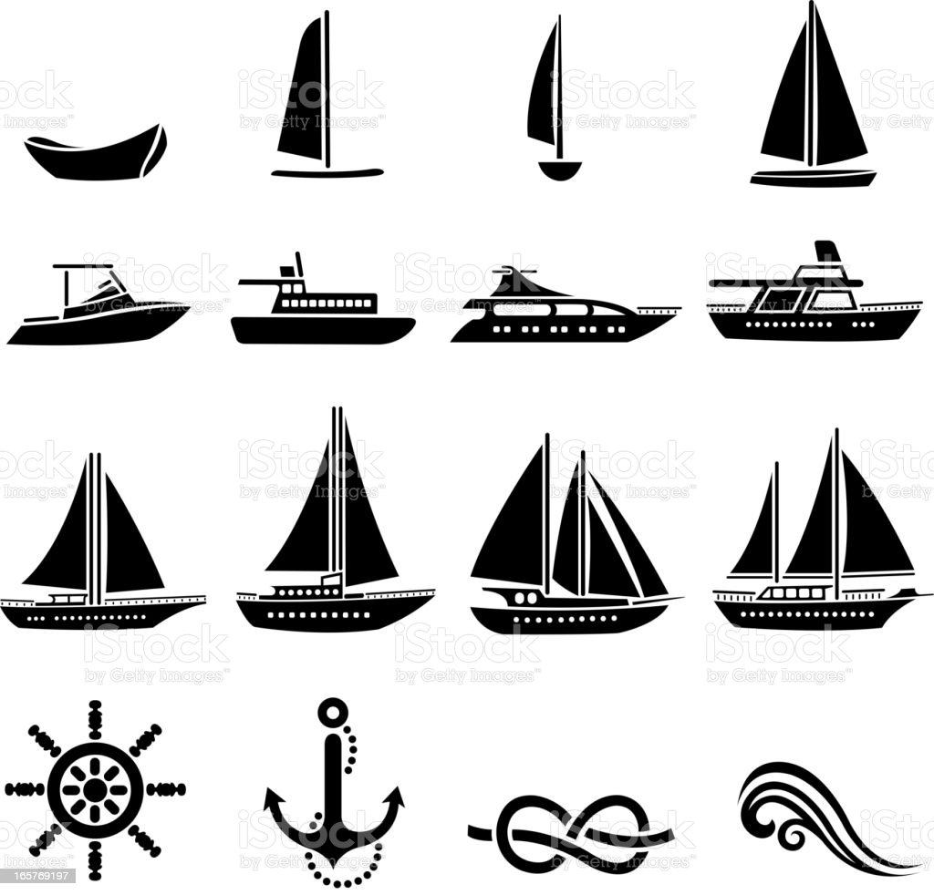 nautical vessel silhouette set vector art illustration