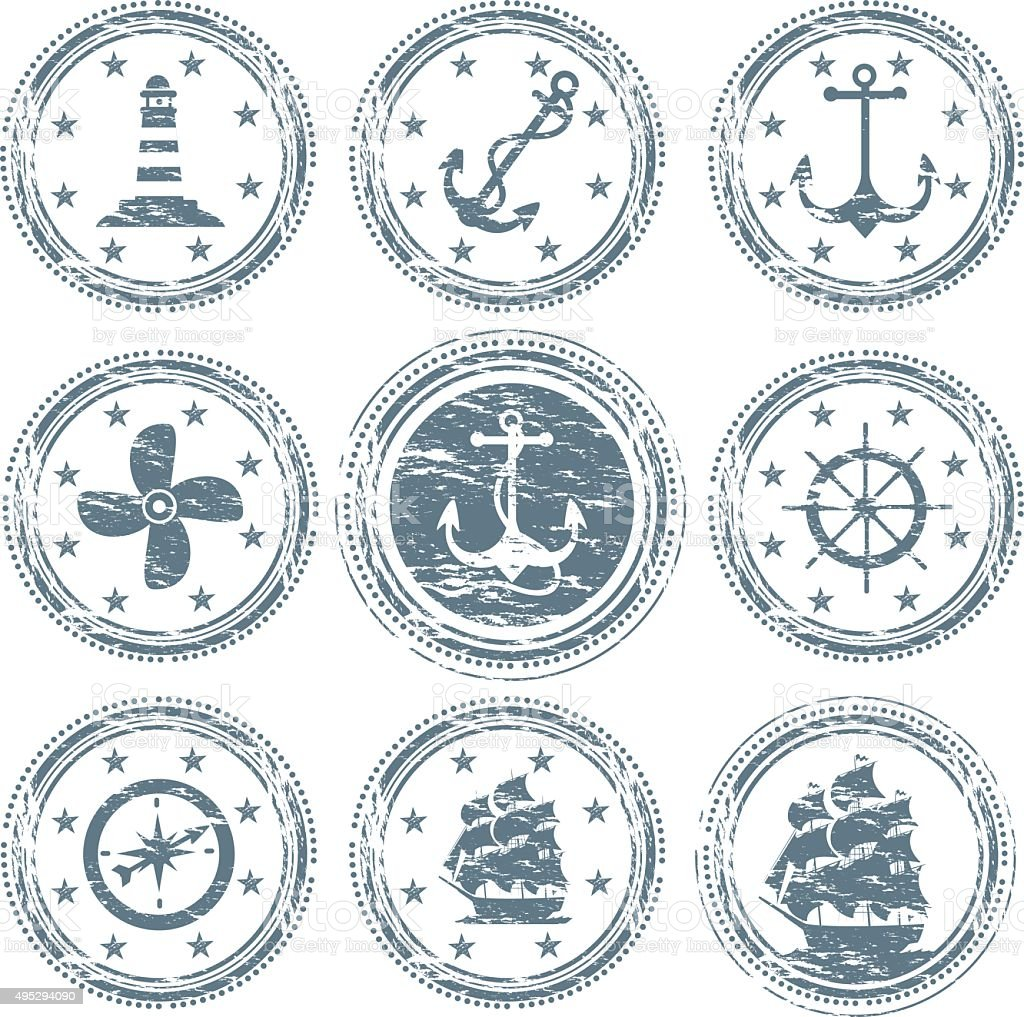 Nautical Vessel Symbols vector art illustration