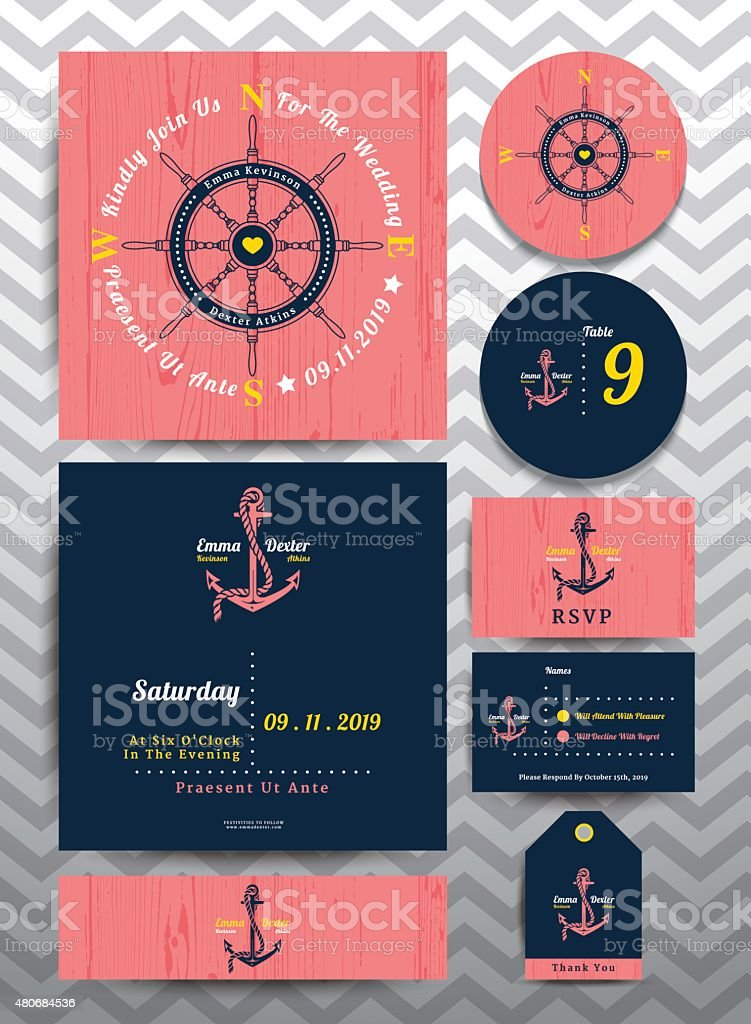 Nautical wedding invitation and RSVP card template set vector art illustration