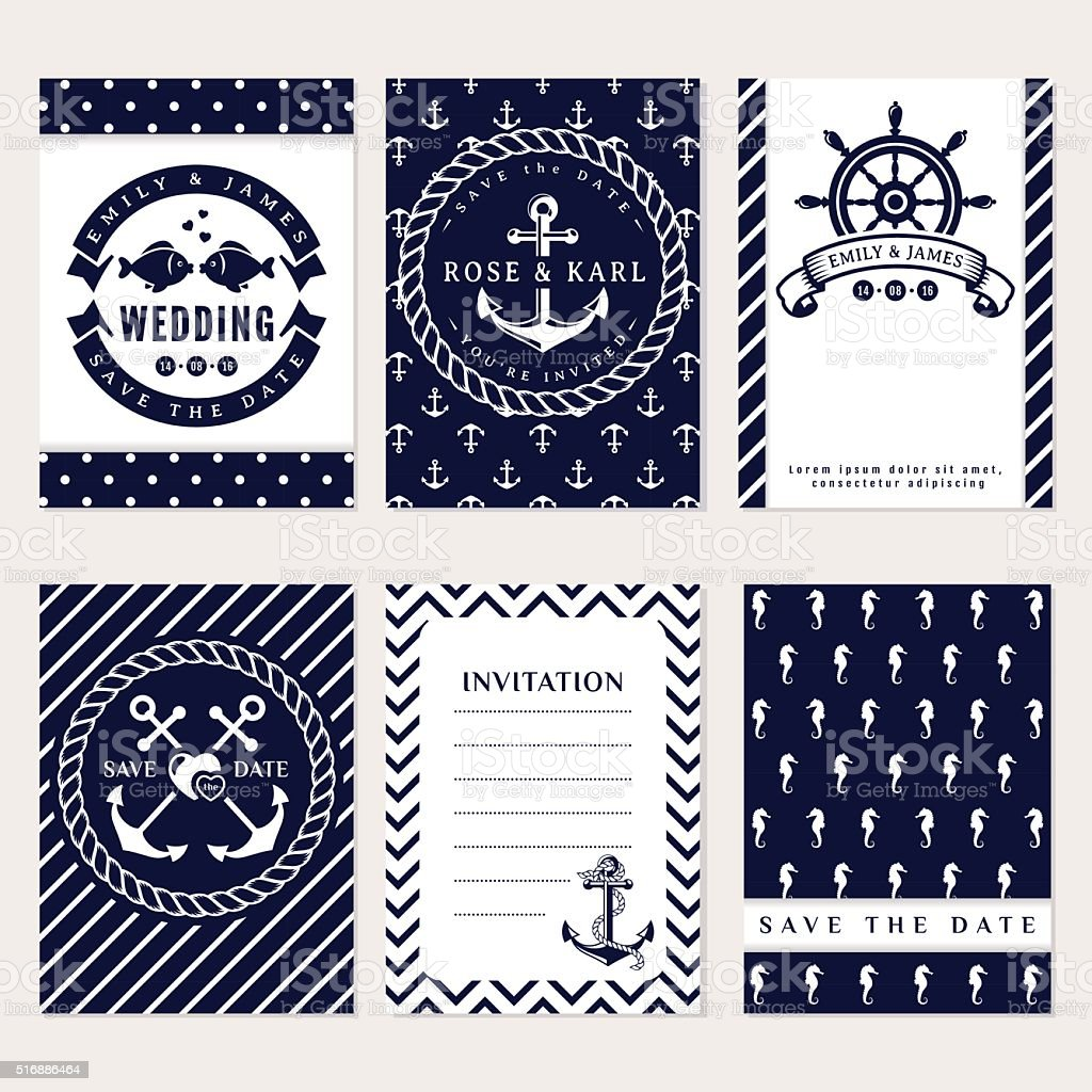 Nautical wedding invitations vector art illustration